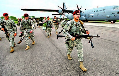 U.S. paratroopers from the U.S. Army's 173rd Infantry Brigade Combat Team based in Italy arrive to participate in training exercises with the Polish army in Swidwin