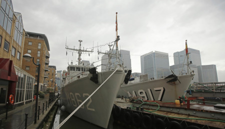 Naval ships of various NATO countries are moored in the Canary Wharf business district in London