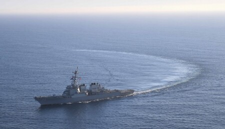 FILE PHOTO: The U.S. Navy Arleigh Burke-class guided-missile destroyer USS Donald Cook transits the Atlantic Ocean