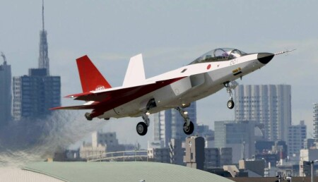 FILE PHOTO: A prototype of the first Japan-made stealth fighter X-2 Shinshin, formerly called ATD-X, takes off to mark its maiden flight at Nagoya Airfield, also known as Komaki Airport, in Toyoyama town, Aichi prefecture