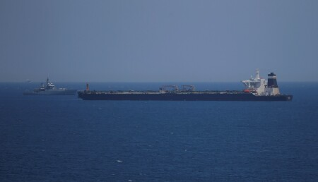 Oil supertanker Grace 1 sits anchored in waters of the British overseas territory of Gibraltar