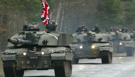 CONVOY OF CHALLENGER TWO TANKS DRIVE ALONG A ROAD DURING ARMY MEDIA DAY NEAR BELSEN