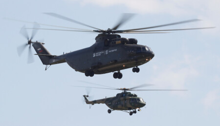 Mil Mi-26 heavy transport helicopter and Mi-8 medium multi-role helicopter perform during a demonstration flight at the MAKS 2017 air show in Zhukovsky