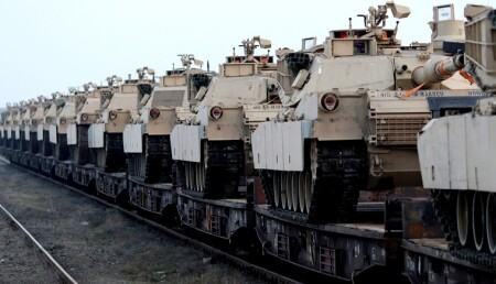 US army M1 Abrams tanks are seen at the Mihail Kogalniceanu Air Base